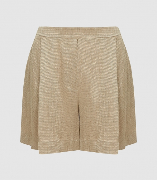 Reiss Ayla - Satin Pale Gold, Womens, Size 6 Short