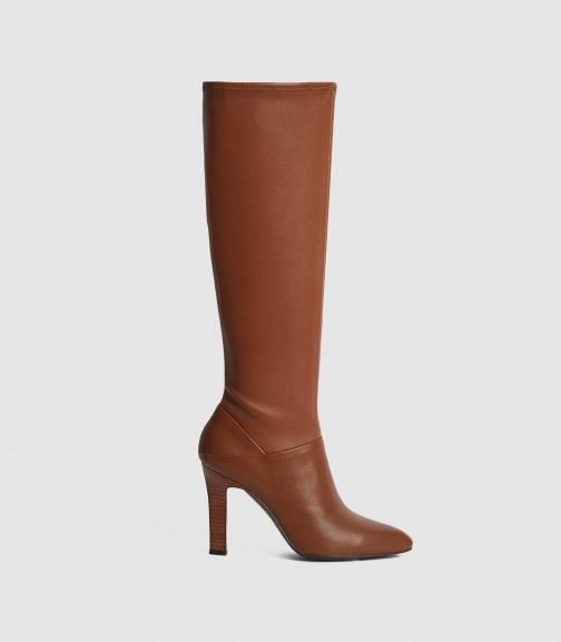 Reiss Cressida - Leather Caramel, Womens, Size 4 Knee High Boots