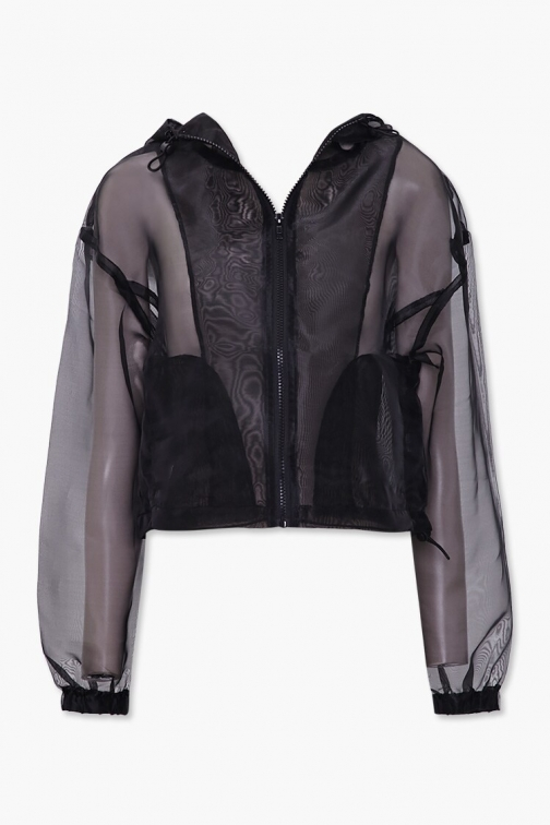 Forever21 Organza Zip-Up At Forever 21 , Black Jacket