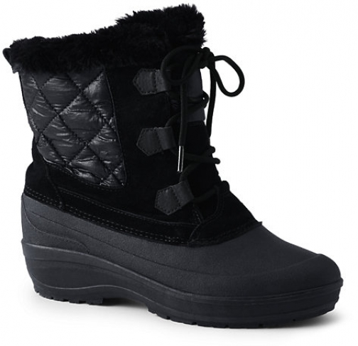 Lands' End Women's Nylon Lace Up Insulated Winter - Lands' End - Black - 6 Snow Boot