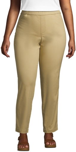 Lands' End Women's Plus Size Mid Rise Pull On Ankle Pants - Lands' End - Brown - 16W Chino