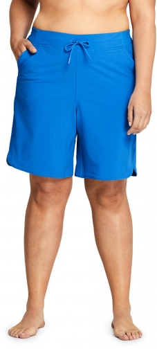 "Lands' End Women's Plus Size Comfort Waist 9"" Board - Lands' End - Blue - 16W Short"