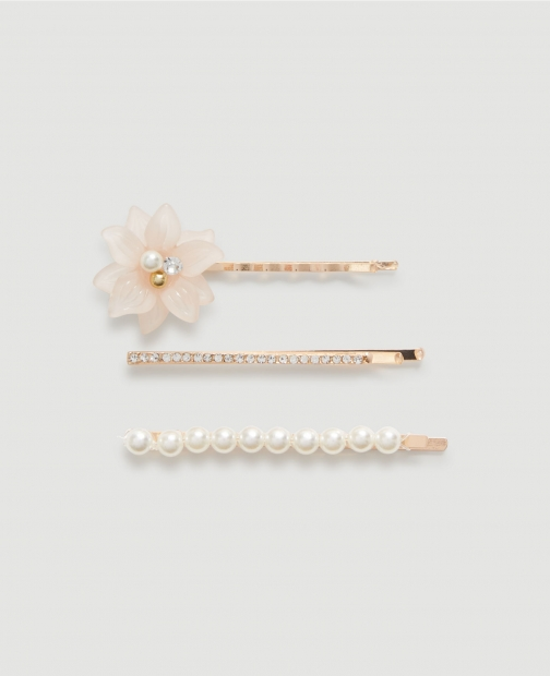 Ann Taylor Factory Pearlized Floral Bobby Set Pin