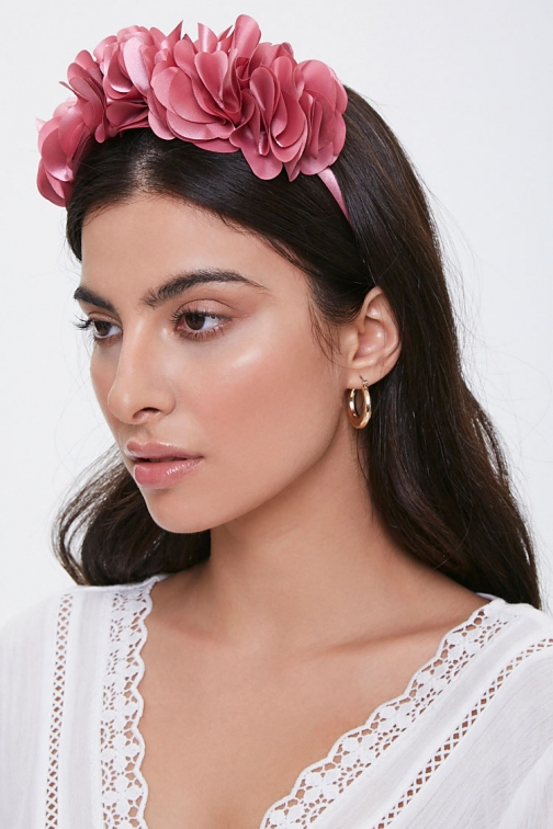 Forever21 Forever 21 Floral Structured Headband , Dusty Pink Headwear