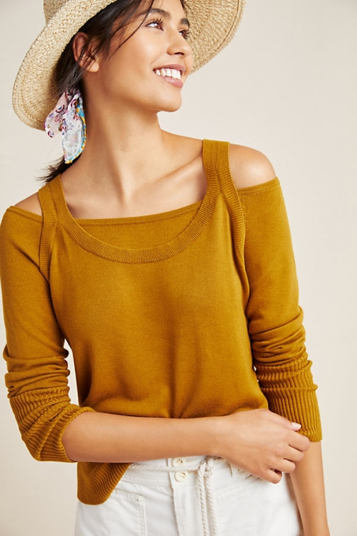 Anthropologie Jamie Open-Shoulder Top