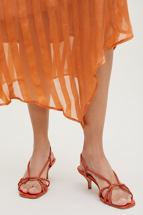 Anthropologie Braided Kitten Heels - Orange, Size Heeled Sandal