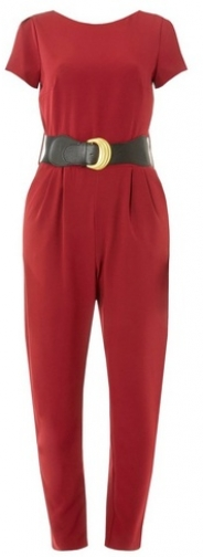 Dorothy Perkins Womens Berry Belted - Red, Red Jumpsuit
