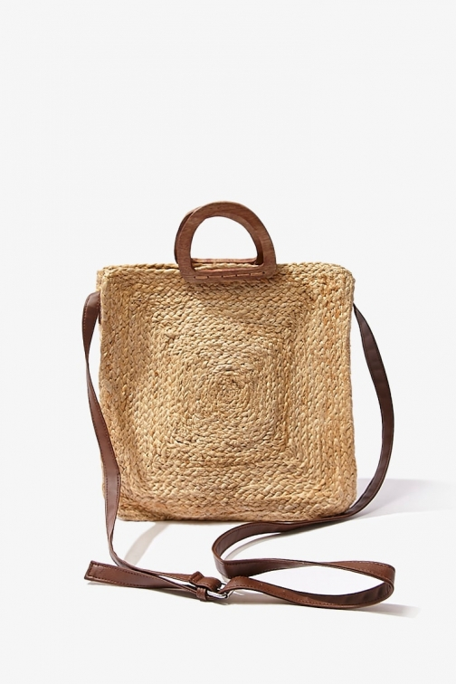 Forever21 Forever 21 Braided Jute Woven Bag , Natural Tote