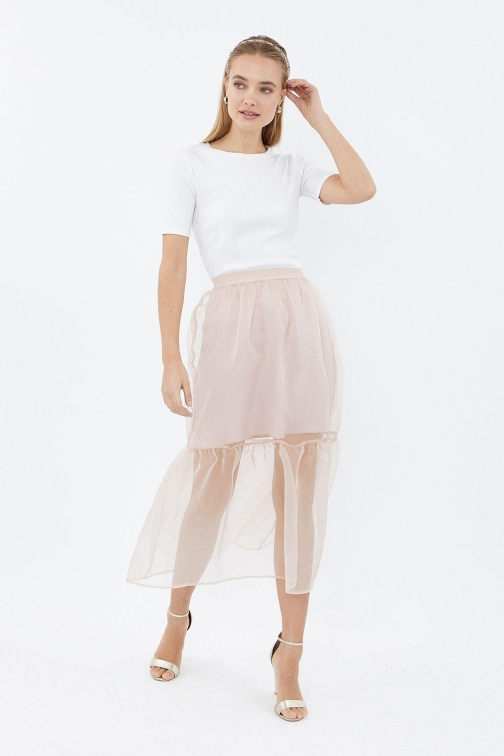 Coast Organza Tiered Pink, Pink Skirt