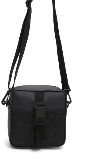 Forever21 Forever 21 Mesh-Trim Nylon Crossbody , Black Crossbody Bag