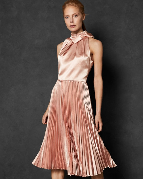 Ted Baker Bow Neck Pleated Dress