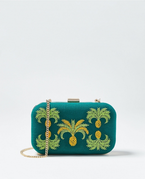 Ann Taylor Pineapple Embroidered Linen Bag Clutch