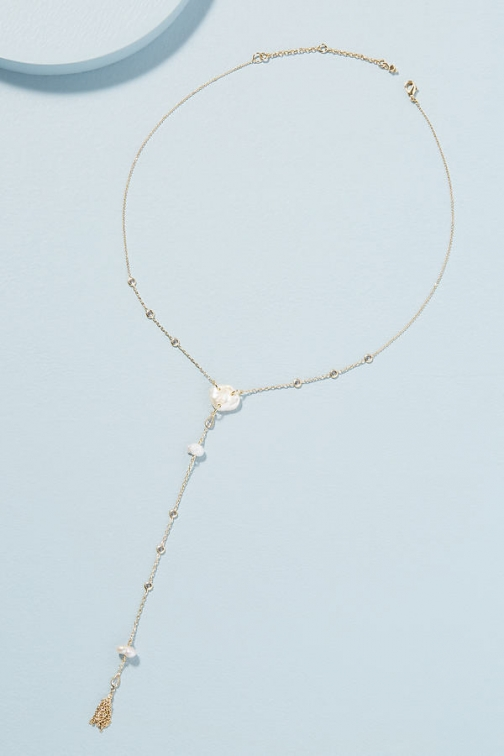 Anthropologie Freshwater Pearl-Detailed Lariat Necklace