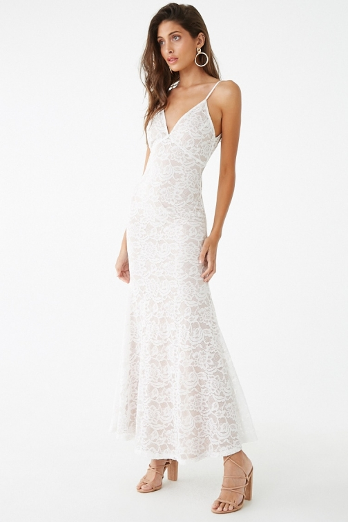 Forever21 Forever 21 Floral Lace Mermaid , Ivory/nude Maxi Dress