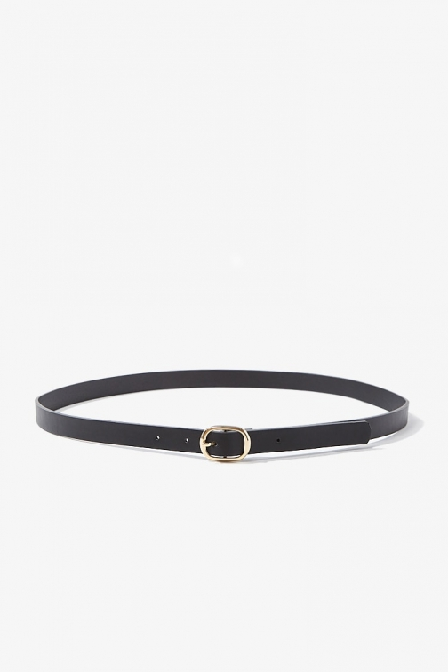 Forever21 Forever 21 Skinny Faux Leather Hip , Black/gold Belt