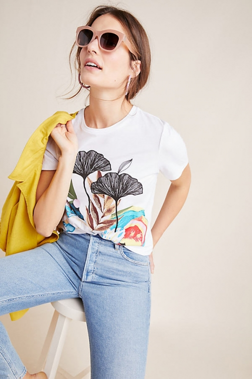 Geisha Designs Lily Pond Embroidered Tee T-Shirt