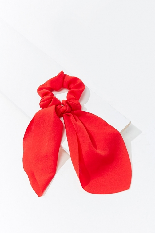 Forever21 Forever 21 Ruffled Bow Scrunchie , Red Headwear