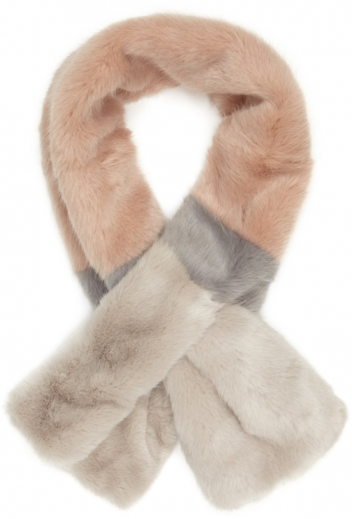 Reiss Merci Stripe - Faux Fur Blush/grey, Womens Scarf
