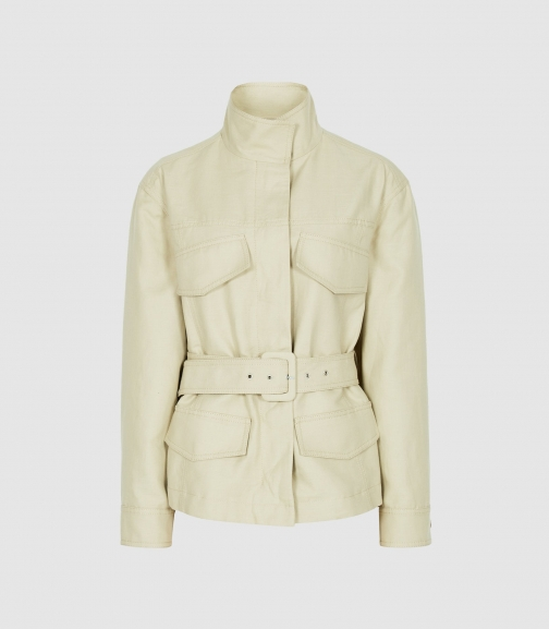 Reiss Eden - Cotton-blend Utility Light Green, Womens, Size 4 Jacket