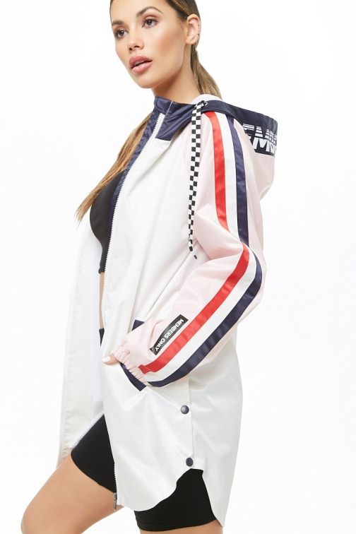 Members Only Colorblock Longline At Forever 21 White/multi Jacket