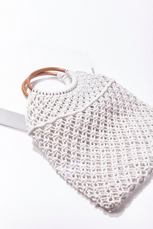 Forever21 Forever 21 Open-Knit Bag , Ivory Tote