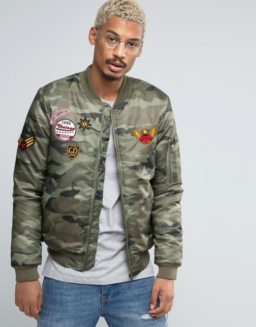 Juice Camo With Patches Bomber Jacket