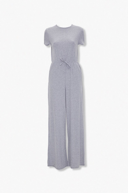 Forever21 Heathered Wide Leg At Forever 21 , Heather Grey Jumpsuit