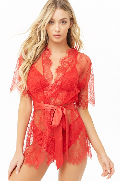 Forever21 Forever 21 Scalloped Lace Self- Robe Red Tie