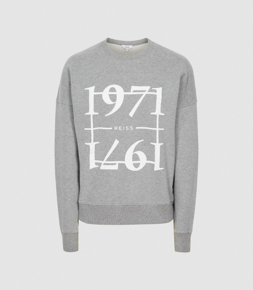 Reiss Aimee - 1971 Graphic Loungewear Grey, Womens, Size XS Sweatshirt