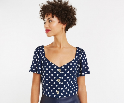 Oasis Spot Button Through Top Shirt