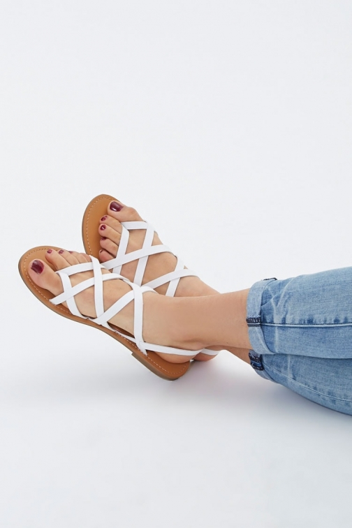 Forever21 Forever 21 Caged Faux Leather , White Sandals