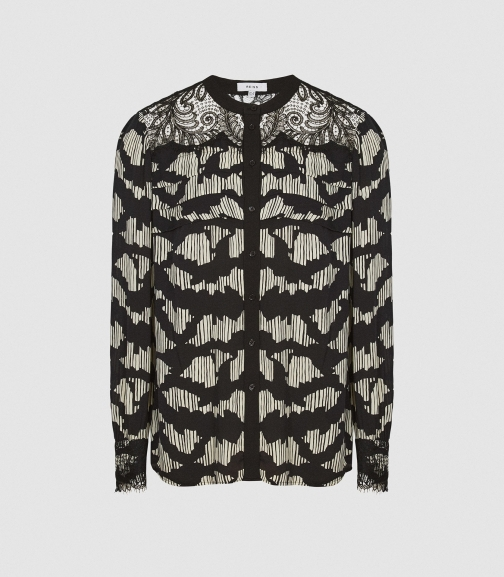 Reiss Ana - Printed With Lace Detailing Black, Womens, Size 4 Blouse