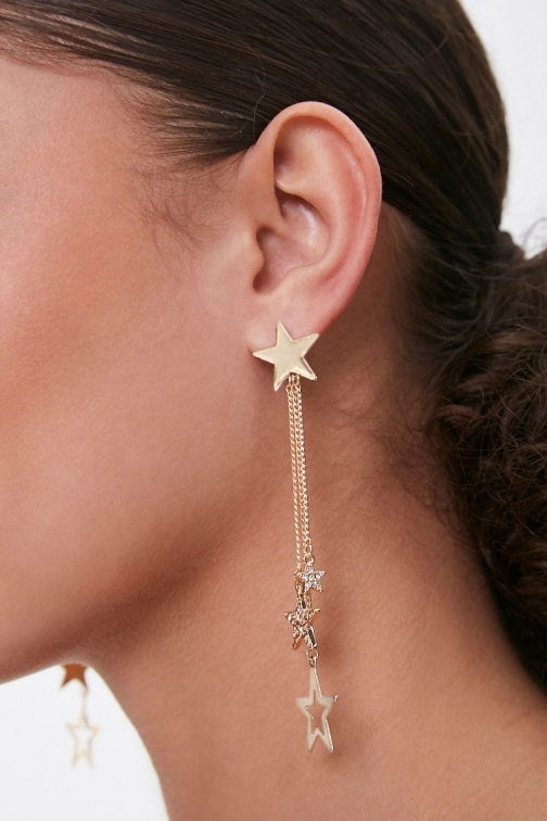 Forever21 Forever 21 Rhinestone Star Drop , Gold/clear Earring