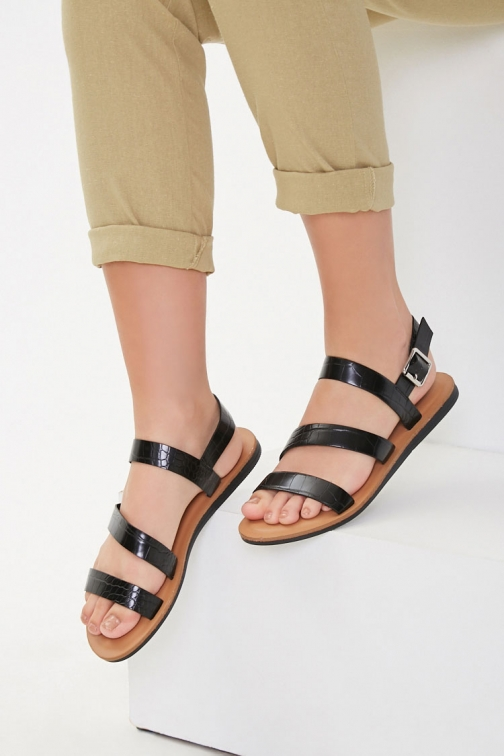 Forever21 Forever 21 Faux Croc Leather , Black Sandals