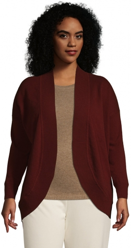 Lands' End Women's Plus Size Cashmere Cocoon Sweater - Lands' End - Red - 1X Cardigan