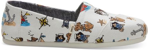 Toms Nautical Dogs Canvas Women's Classics Slip-On Shoes