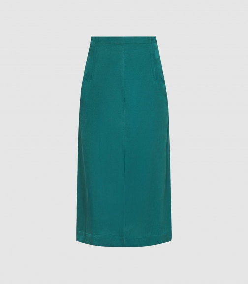 Reiss Cecilia - Pleated Twill Teal, Womens, Size 4 Skirt