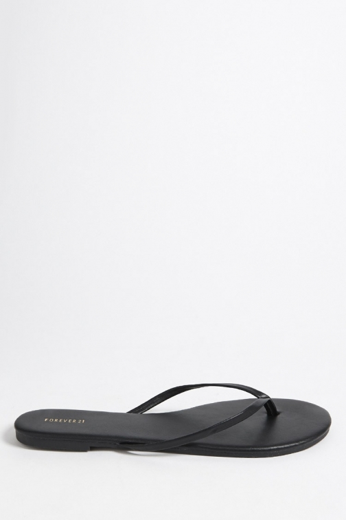 Forever21 Forever 21 Faux Leather Thong , Black Sandals