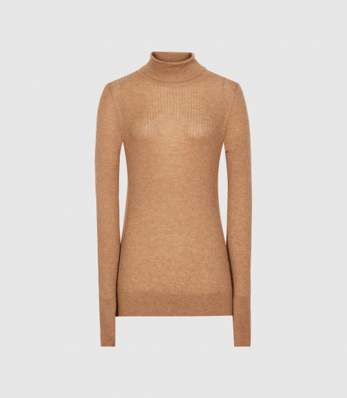 Reiss Sophie - Knitted Roll Neck Camel, Womens, Size L Top