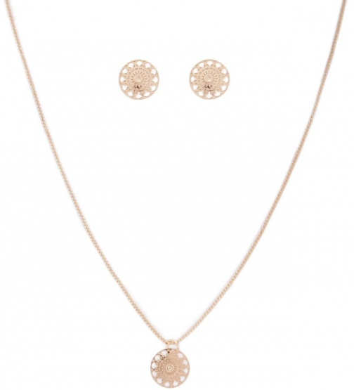 Forever21 Forever 21 Filigree Earrings And Necklace Set , Gold Jewellery