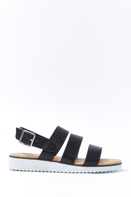 Forever21 Forever 21 Faux Leather Caged , Black Sandals