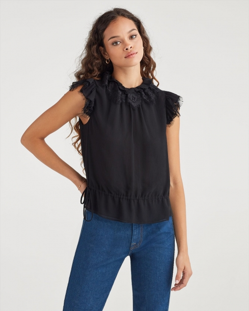 7 For All Mankind Women's Ruffle Neck Chiffon Sleevless Top Jet Black Shirt