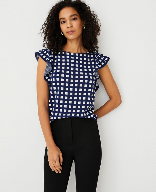 Ann Taylor Petite Gingham Ruffle Sleeve Sweater Shell Top