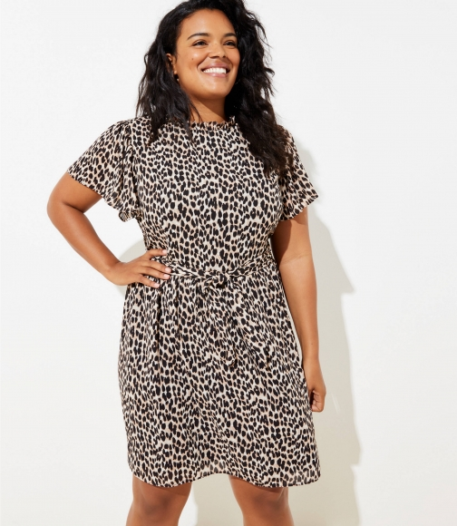 Loft Plus Leopard Print Tie Waist Flutter Dress