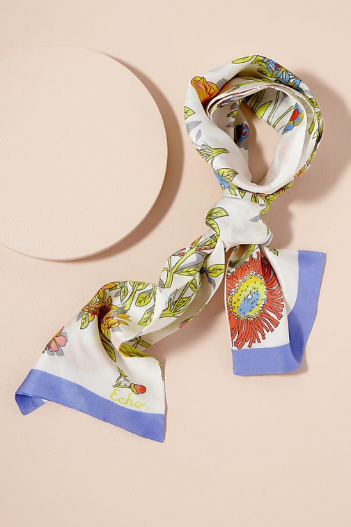 Anthropologie Floral Necktie Silk Scarf