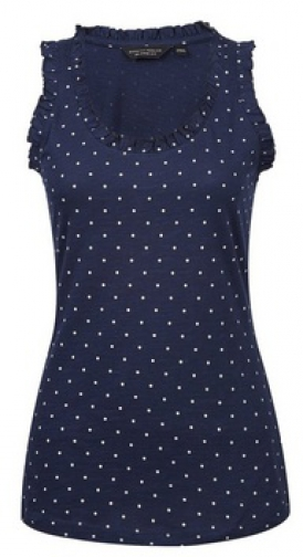 Dorothy Perkins Navy Spot Print Ruffle Shoulder Vest Top