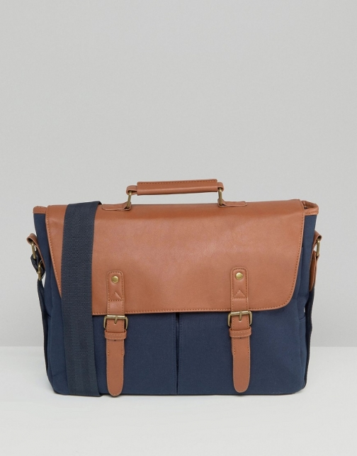 Asos Canvas & Faux Leather Satchel
