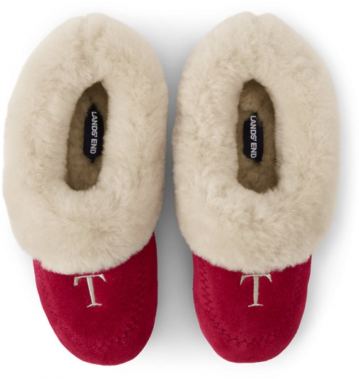 Lands' End Women's Suede Leather Shearling Fur House - Lands' End - Red - 6 Slippers