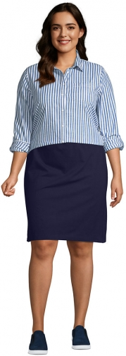 Lands' End Women's Plus Size Starfish Knit - Lands' End - Blue - 1X Skirt