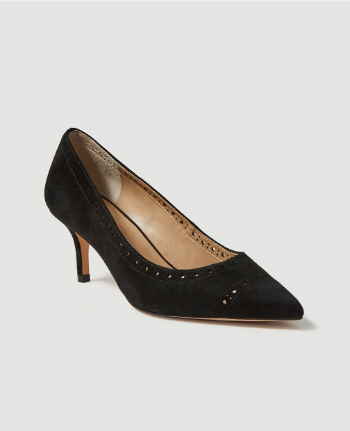 Ann Taylor April Perforated Suede Pumps